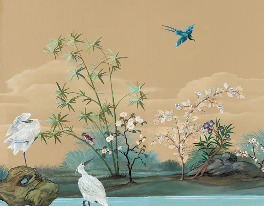 Custom wallpaper wallcovering and scenic painted mural for Chinoiserie mural wallpaper
